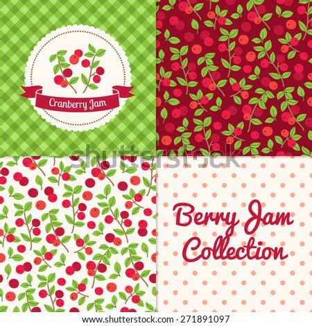 Homemade cranberry jam collection. Paper label and seamless patterns with Gingham, Polka Dot and Berries on dark and light background. Perfect for wallpaper, wrapping paper, textile and package design - stock vector