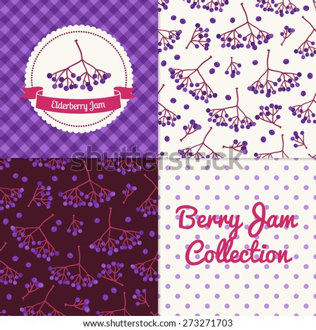 Homemade elderberry jam collection. Paper label and seamless patterns with Gingham, Polka Dot and Berries on color and light background. Perfect for wallpaper, wrapping paper, textile, package design - stock vector