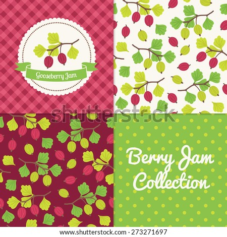 Homemade gooseberry jam collection. Paper label and seamless patterns with Gingham, Polka Dot and Berries on color and light background. Perfect for wallpaper, wrapping paper, textile, package design - stock vector