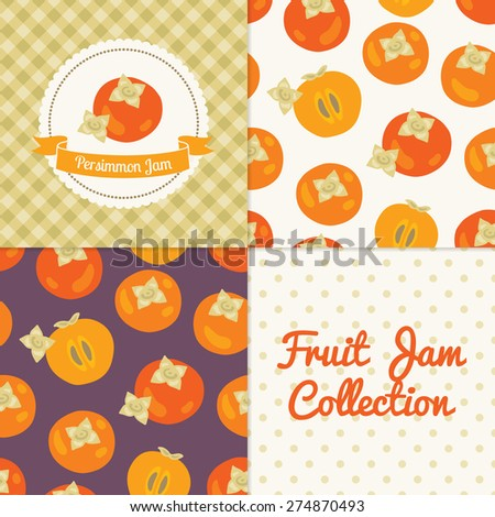 Homemade persimmon jam collection. Paper label and seamless patterns with Gingham, Polka Dot and Fruits on color and light background. Perfect for wallpaper, wrapping paper, textile, package design - stock vector