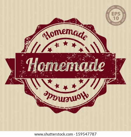 Homemade Vintage Stamp with grunge - Vector - stock vector