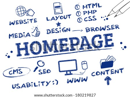 Homepage Concept. Keywords with icons, doodle - stock vector