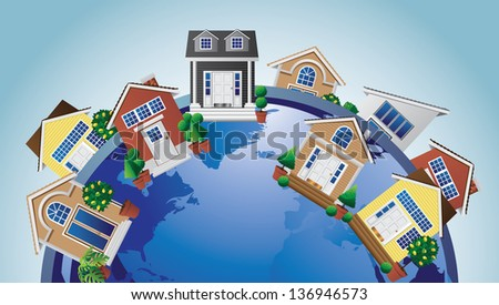 Homes around the world. Portions of this image provided by NASA. EPS 10 vector, grouped for easy editing. No open shapes or paths. - stock vector