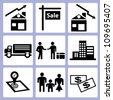 homestead, real estate icon set - stock vector