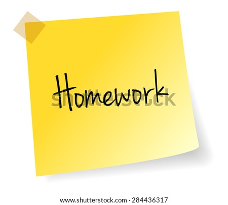 Homework Yellow Stick Note Paper Vector Isolated - stock vector