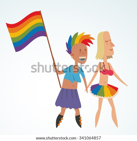 Homosexual gay and lesbian people vector. Homosexual marriage lesbian couples. Gay, lesbian couple. Woman lesbian family vector illustration. Homosexual couple colors free love. Gay, lesbian parade - stock vector