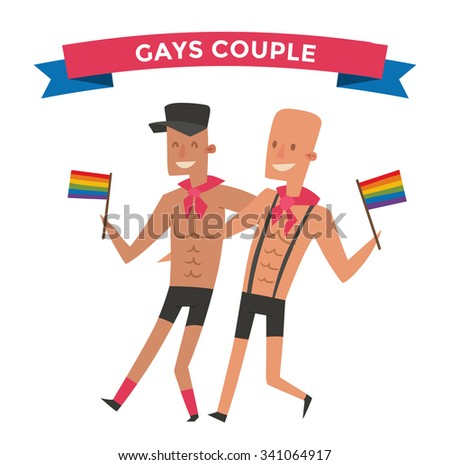 Homosexual gay people couple vector. Homosexual marriage man couples. Gay family couple. Gay family vector illustration. Homosexual couples colors free love. Gay parade. Gay flag isolated. Gay couple - stock vector