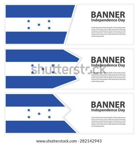 honduras Flag banners collection independence day - stock vector