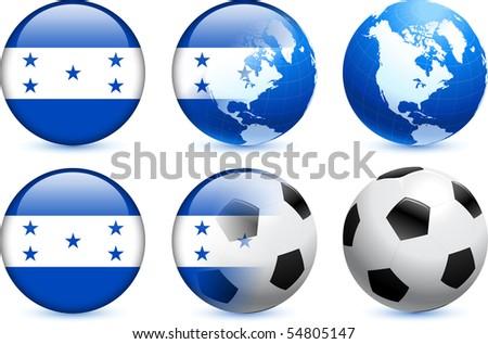 Honduras Flag Button with Global Soccer Event Original Illustration - stock vector