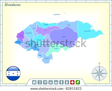 Honduras Map with Flag Buttons and Assistance & Activates Icons Original Illustration - stock vector