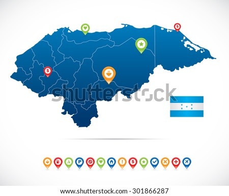 Honduras Map with Navigation Icons - stock vector