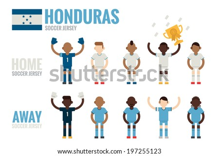 Honduras soccer team flat icons - stock vector