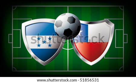 Honduras versus Chile abstract vector illustration isolated on white background. Soccer match in South Africa 2010. Shiny football shield of flag Honduras versus Chile - stock vector