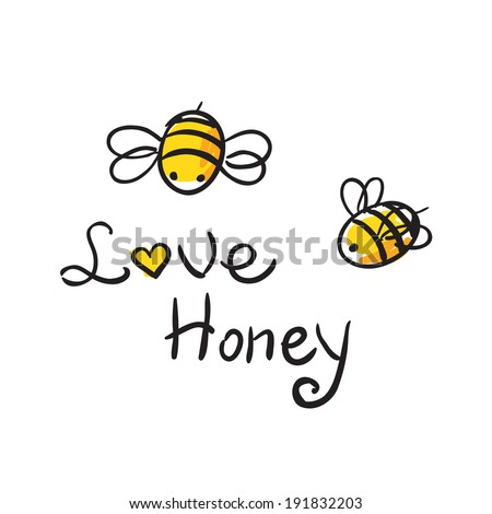 honey and Bee icon - stock vector