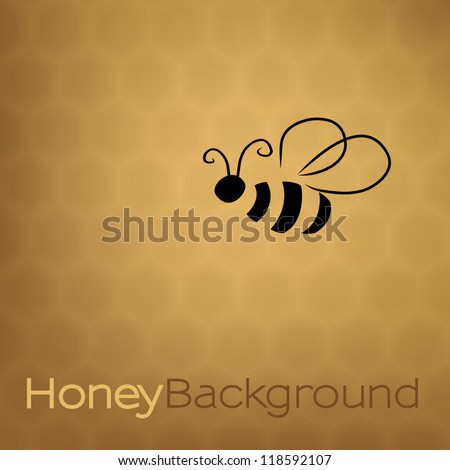 Honey background with bee - stock vector