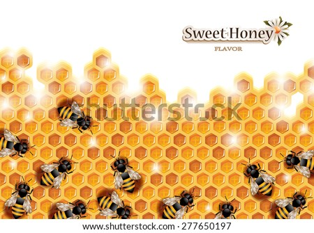 Honey Background with Bees Working on a Honeycomb - stock vector