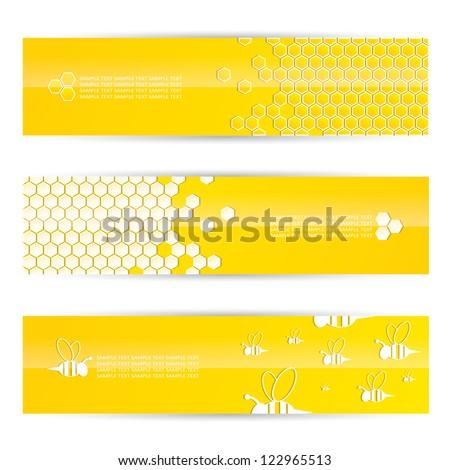 Honey banners - vector illustration - stock vector