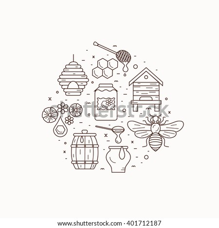 Honey bee house illustration. Honey bee vector symbol. Bee, honey, bee house, honeycomb, beehive, flower. Outline style honey bee house. Vector icon honey bee. Mead bee house  illustration - stock vector
