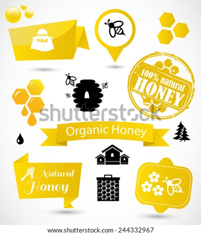 Honey icon and badge set vector - stock vector