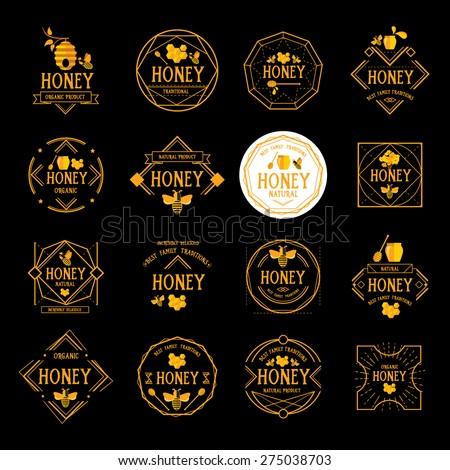 Honey label design. Bee badge. - stock vector