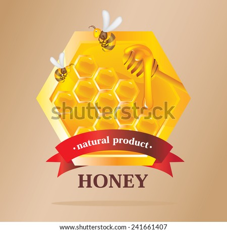 Honey Label with bees - stock vector