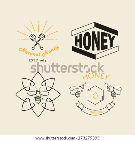 Honey logotypes, badges and labels vector set - stock vector
