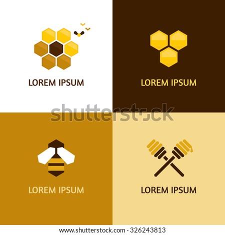 Honey logotypes vector set - stock vector
