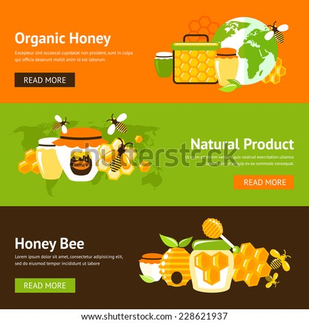 Honey organic natural product drop comb bee hive and cell food agriculture flat banner set isolated vector illustration - stock vector