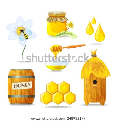 Honey sugar tasty healthy food decorative icons set isolated vector illustration - stock vector
