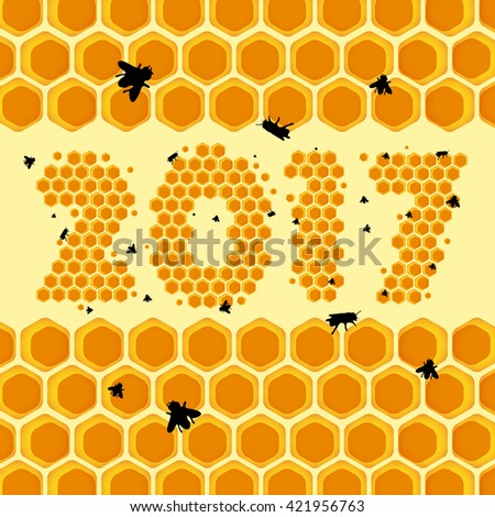 Honeycomb background - year 2017 - vector illustration  - stock vector