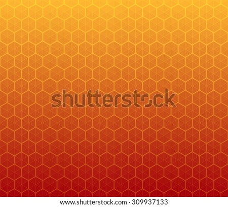 Honeycomb inspired abstract geometric background of hexagons and triangles in colors of honey - stock vector
