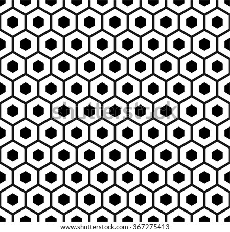 Honeycomb pattern vector, hexagons monochrome pattern, abstract geometric pattern - stock vector