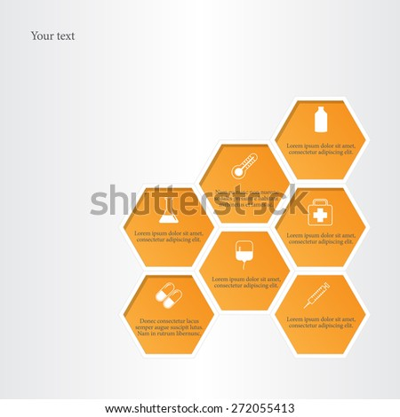Honeycomb with medical flat icons. - stock vector