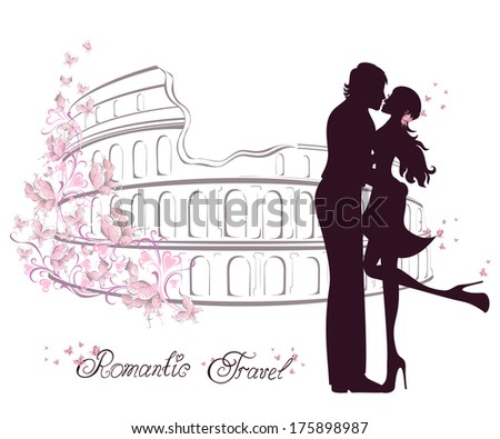 Honeymoon and Romantic Travel. Happy young lovers couple kissing in front of Colosseum in Rome, Italy - stock vector