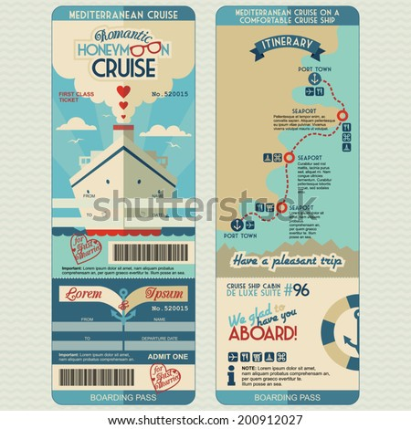 Honeymoon cruise boarding pass for just married. Flat graphic design template, face and back side - stock vector