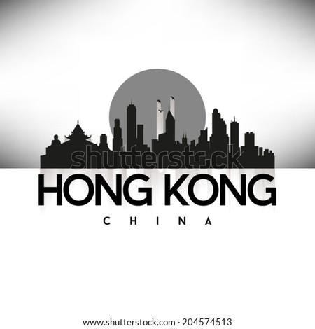 Hong Kong, China Skyline Silhouette Black design, vector illustration. - stock vector