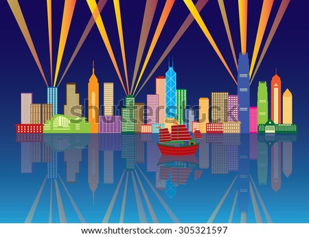 Hong Kong City Night Skyline with Laser Light Rays Panorama Color on Blue Background Vector Illustration - stock vector