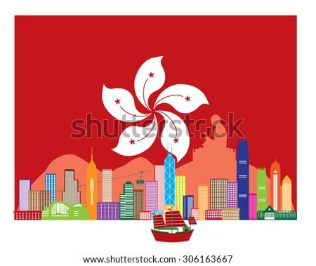 Hong Kong City Skyline and Big Buddha Statue Panorama in Hong Kong Flag Background Color Vector Illustration - stock vector