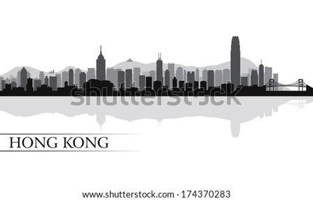Hong Kong city skyline silhouette background, vector illustration - stock vector