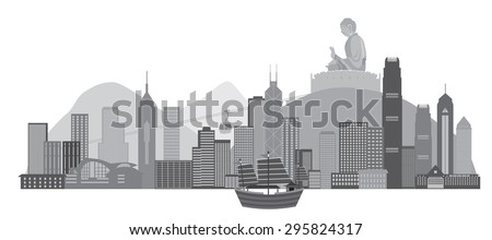 Hong Kong City Skyline with Iconic Junk Boat and Big Buddha Statue Panorama Grayscale Isolated on White Background Vector Illustration - stock vector