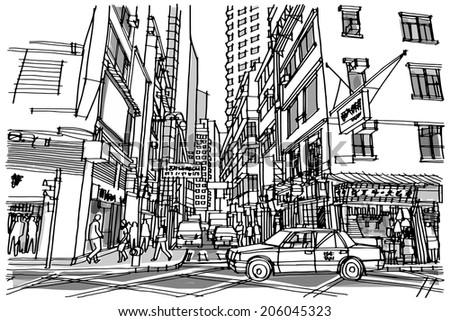 Hong Kong city street : sketchbook - stock vector