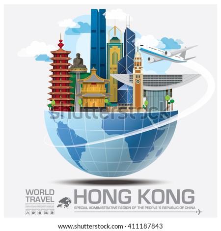Hong Kong Landmark Global Travel And Journey Infographic Vector Design Template - stock vector
