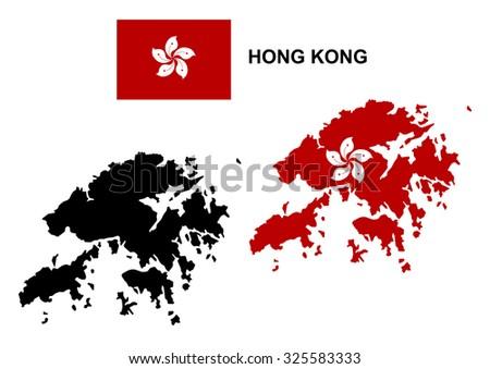 Hong Kong map vector, Hong Kong flag vector, isolated Hong Kong - stock vector