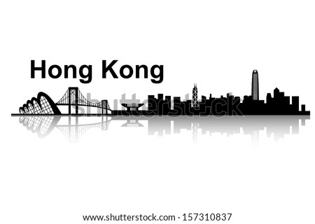 Hong Kong skyline - black and white vector illustration - stock vector