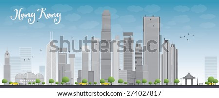 Hong Kong skyline with blue sky and taxi. Vector illustration. Business travel and tourism concept with modern buildings. Image for presentation, banner, placard and web site. - stock vector