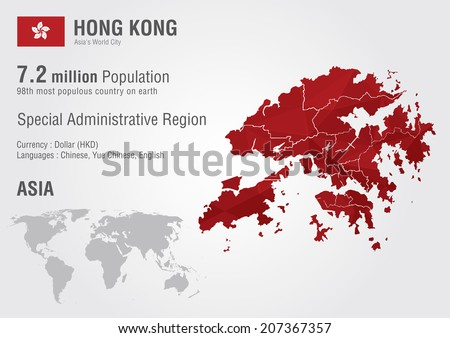 Hong Kong world map with a pixel diamond texture. World geography. - stock vector