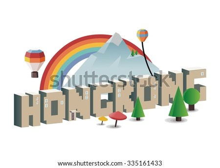 Hongkong, beautiful destination to visit - stock vector