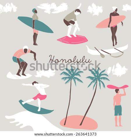 Honolulu, Print Design - stock vector
