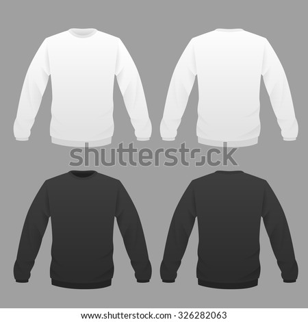 Hoody template set, front and back view. Vector illustration. - stock vector