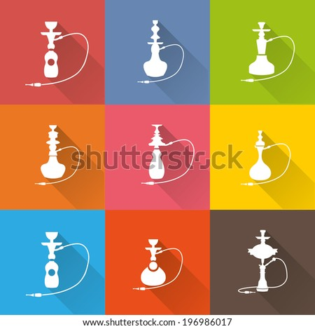 Hookah icon set 1 - stock vector